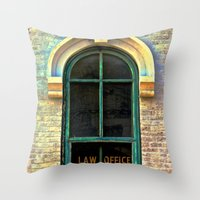 the office Throw Pillows featuring Law Office by Biff Rendar