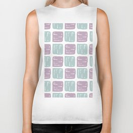 Watercolor lilac green abstract geometrical squares pattern Biker Tank