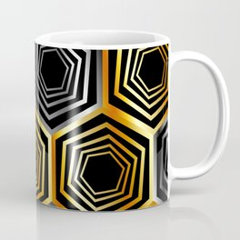 Gold and silver hexagonal composition Coffee Mug