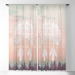 Your Vibe Attracts Your Tribe - Forest Sunset Sheer Curtain