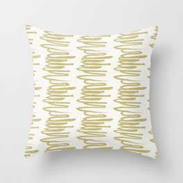 Scribbled Lines in Mustard Throw Pillow