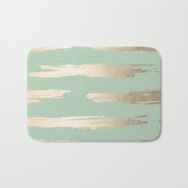 Simply Brushed Stripe White Gold Sands on Pastel Cactus Green Bath Mat