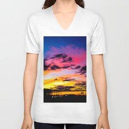 Sunset on Hwy 380 Unisex V-Neck