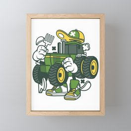 Tractor Cute Funny Tractor Pulling Thing Gift Framed Mini Art Print