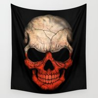 poland Wall Tapestries featuring Dark Skull with Flag of Poland by Jeff Bartels