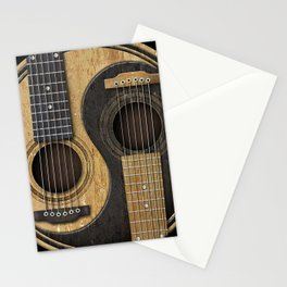 Aged Vintage Acoustic Guitars Yin Yang Stationery Cards