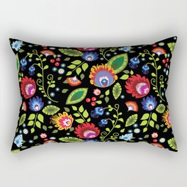 Folklore - multicoloured flowers and leaves Rectangular Pillow
