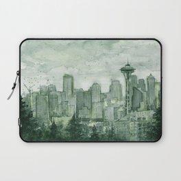 Seattle Skyline Watercolor Space Needle Emerald City 12th Man Art Laptop Sleeve