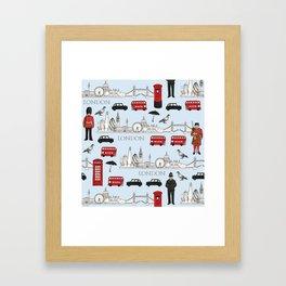 London Skyline and Icons Framed Art Print