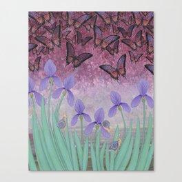 butterflies dance in purple skies above irises Canvas Print
