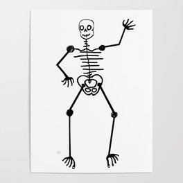 Black Skeleton on white Poster