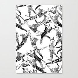 dog party black white Canvas Print