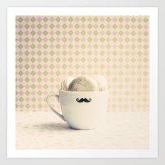 Macaroons in Mustache Cup Art Print