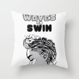 Waves on Swim Throw Pillow