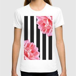 Pink roses on black and white stripes T-shirt