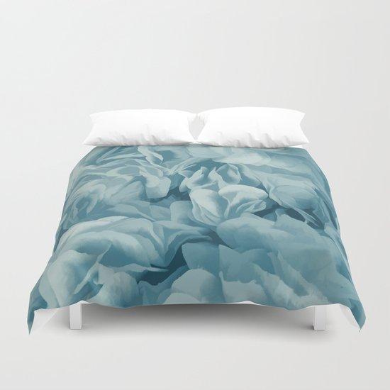 Soft Baby Blue Petal Ruffles Abstract Duvet Cover