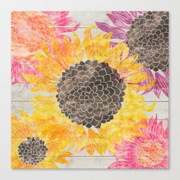 Rustic Sunflowers Canvas Print