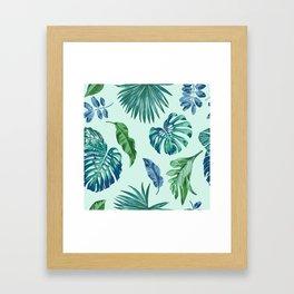 Palm Trees & Leaves Pattern Framed Art Print