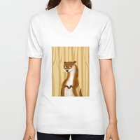 otter V-neck T-shirts featuring Otter by makoshark