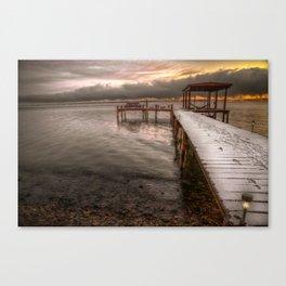 Snowy dock Canvas Print