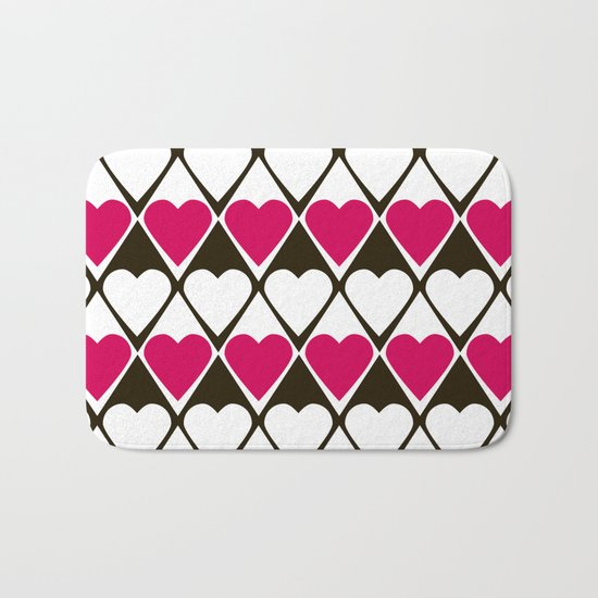 Abstract print with hearts Valentines Day love Bath Mat