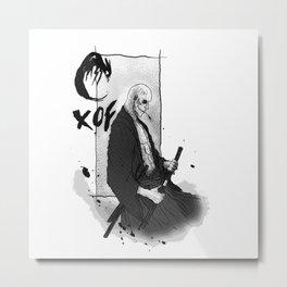Samurai Skullface Metal Print