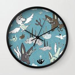 chipegacorn, chihuahua dog + pegasus + unicorn mythical creature! chipegacorn, chihuahua dog + pegas Wall Clock