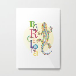 Barcelona City Lizard Metal Print