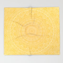 The Most Detailed Intricate Mandala (Mustard Yellow) Maze Zentangle Hand Drawn Popular Trending Throw Blanket