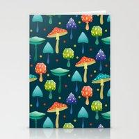 mushrooms Stationery Cards featuring Mushrooms by Julia Badeeva