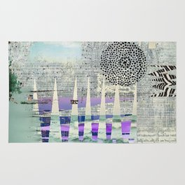 Blue Grey Abstract Art Collage Rug
