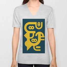 Abstract Geometric Constructivist  Art Yellow and Blue Turquoise  Unisex V-Neck