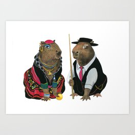 The Gypsy and the pool player capybaras in love Art Print
