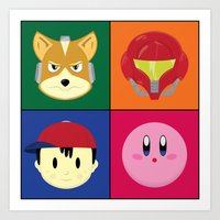 smash bros Art Prints featuring SMASH BROS by Nearly Headless