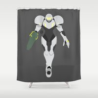 samus Shower Curtains featuring Samus(Smash)Light Suit by ejgomez