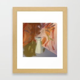 Autumn Lavender - Hand Drawn with Warm Terracotta Colours Framed Art Print