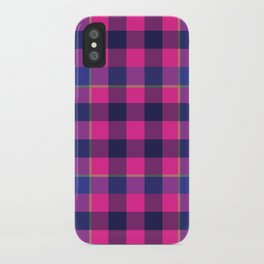 Pink and Navy Plaid iPhone Case