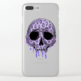 Dripping purple leopard spotted skull Clear iPhone Case