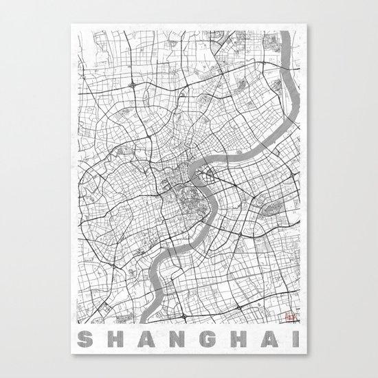 Shanghai Map Line Canvas Print