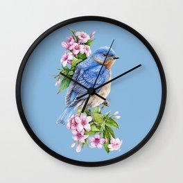 Botanical Blue Bird Wall Clock