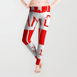 Canada Day Maple Leaf Pattern Canadian Flag Leggings