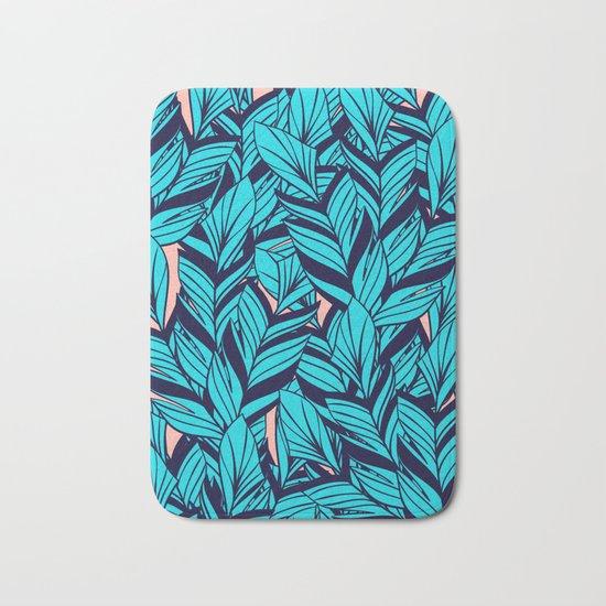 Blue Banana Leaf Pattern Bath Mat