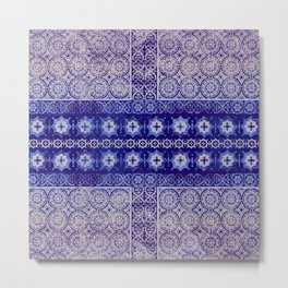 tile patchwork with center stars in blue Metal Print