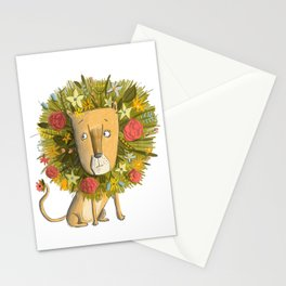 Flower Lion on white Stationery Cards