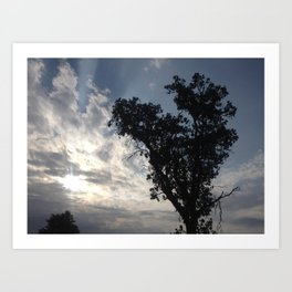 Cloud ray heart tree Art Print