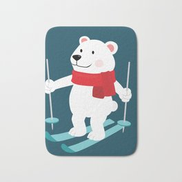 Lets Go Skiing with Mr Polar Bear this Merry Christmas Bath Mat