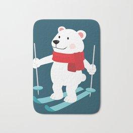 Lets Go Skiing with Mr Polar Bear this Merry Christmas Bath Mat