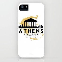 ATHENS GREECE SILHOUETTE SKYLINE MAP ART iPhone Case