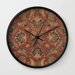Flowery Boho Rug V // 17th Century Distressed Colorful Red Navy Blue Burlap Tan Ornate Accent Patter Wall Clock