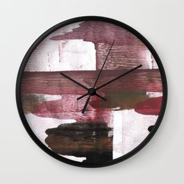 Red Black clouded watercolor texture Wall Clock